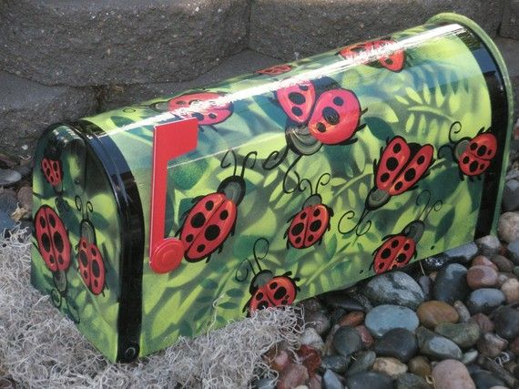 hand painted mailbox designs. Ladybug Hand Painted Mailboxes | Custom Mailbox By Gonepostal09 On Etsy Designs B
