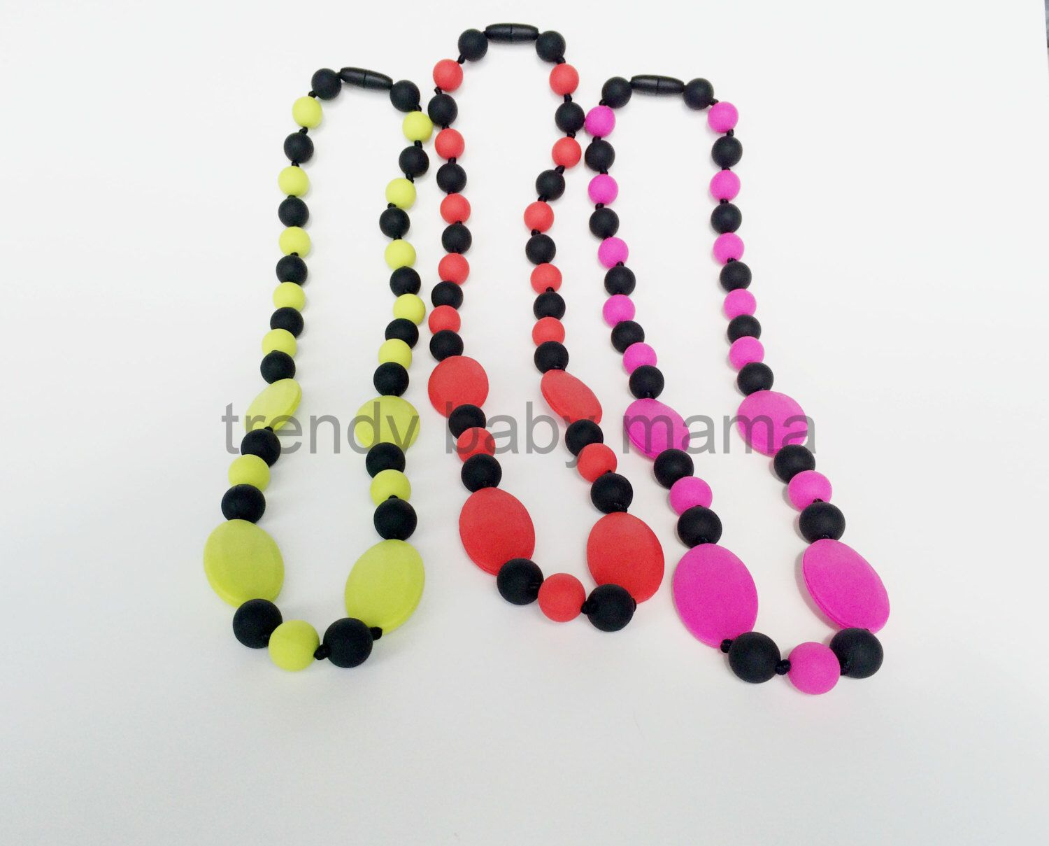 Silicone teething necklace nursing chew beads oval flat bpa free