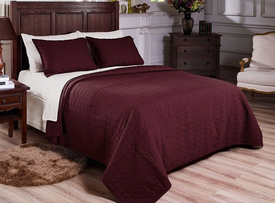 Vintage Washed 100 Cotton 3pcs Solid Burgundy Quilt