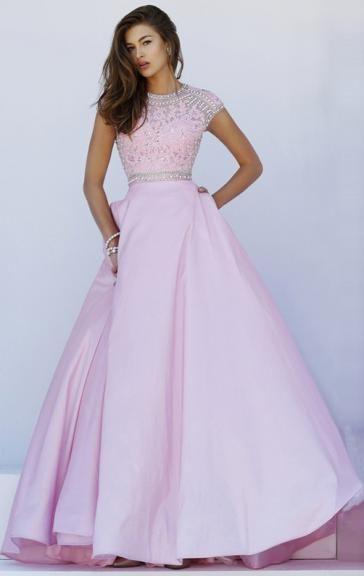 Günstiges langes rosa Spitze Taft Ballkleid Abendkleid ...