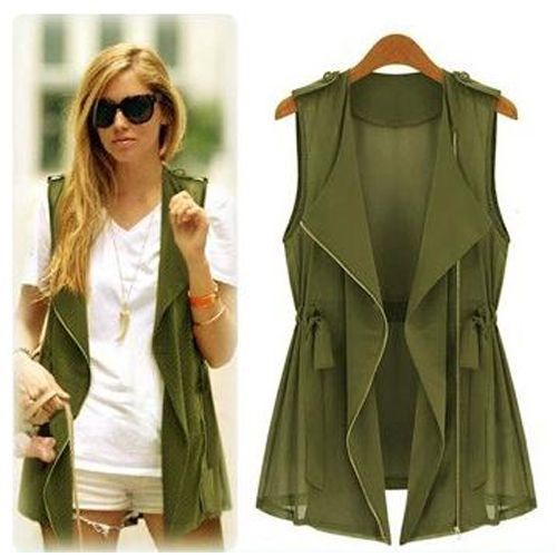 bd04475bd6d77e Hot Women Sleeveless Long Waistcoat Blazer Jacket Trench Vest Cardigan Coat