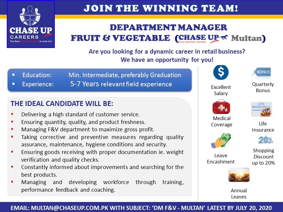 Chase Up Pvt Ltd Publish Jobs For Graduate Male And Female To Apply Before Due Date All Details Are Available On Jobshu Jobs In Lahore Multan Jobs In Pakistan