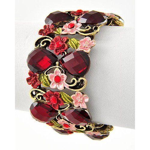 Beautiful Antique Cuff Style Flower Bracelet