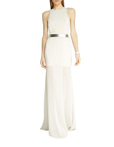 Halston Heritage Belted Geo-Inset Gown Women's Dark Bone 2