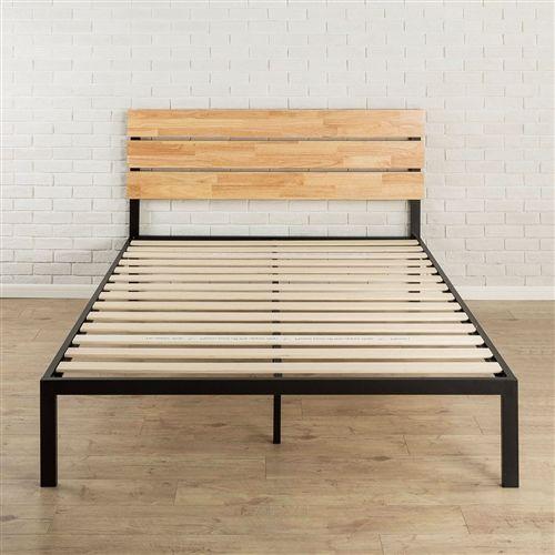 Full Size Metal Platform Bed Frame With Wood Slats And