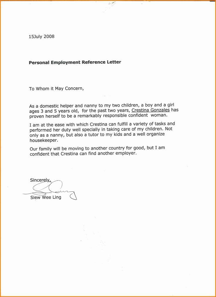 Proof Of Child Care Letter Awesome 10 Excellent Nanny Re Mendation Letter Points Origins By 10 Excelle Reference Letter Letter Example Letter Of Recommendation