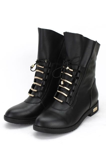 Metal Tube Lace-up Boots