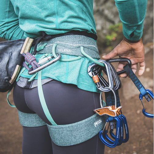 Photo of Petzl (climbing gear company) chose the perfect model for their new women's harness.