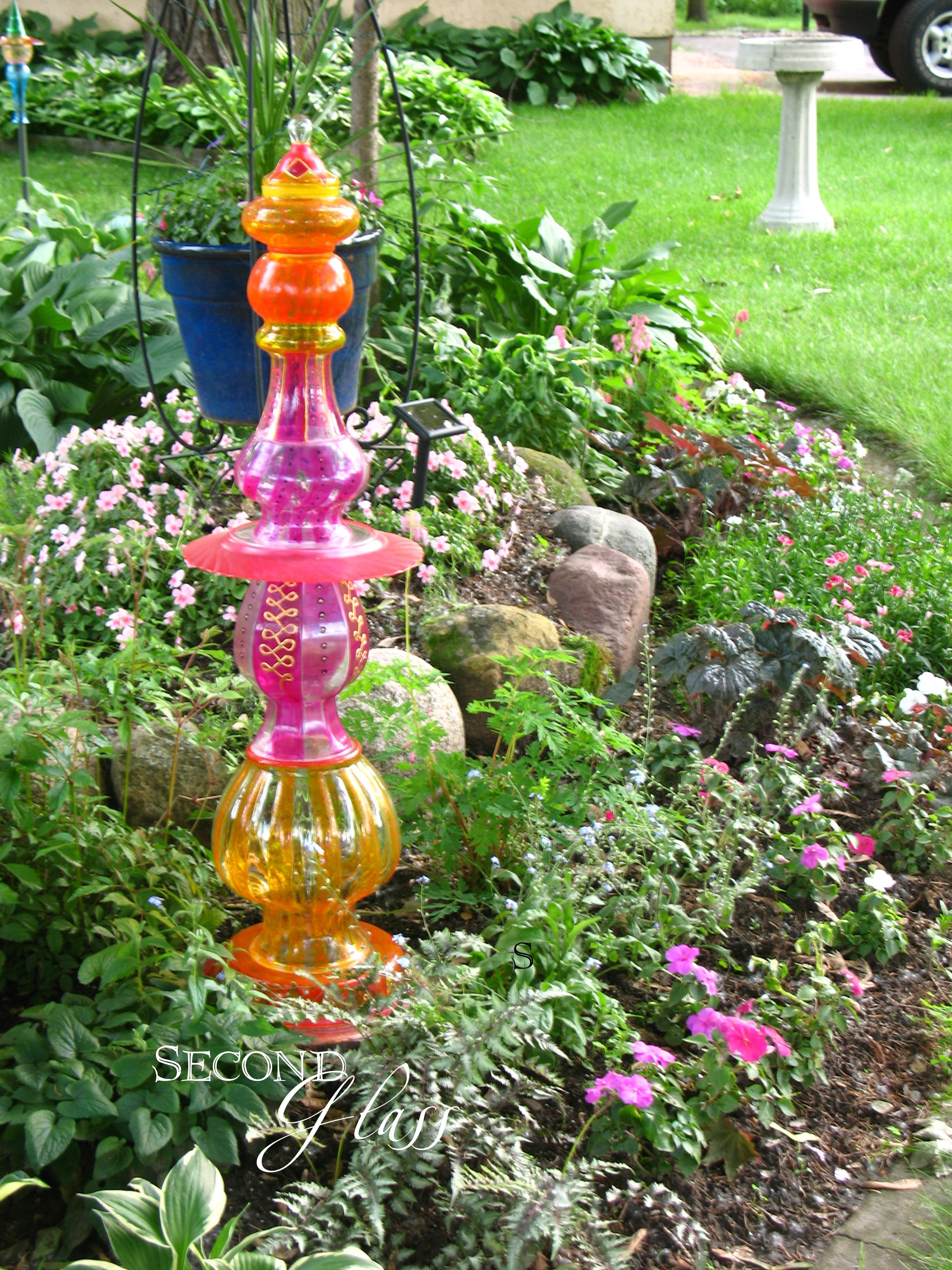 Glass yard art  Whimsical Hand Painted Glass Garden Totem by Second Glass