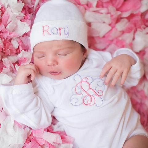 2730cb8932417 Swirl Initial Bodysuit and Double Colored Letters White Personalized Newborn  GIRL Hospital Hat SET  Melondipity