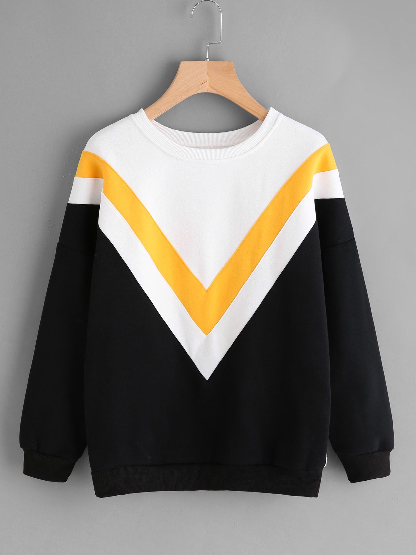 Shop Drop Shoulder Chevron Pattern Sweatshirt online. SheIn