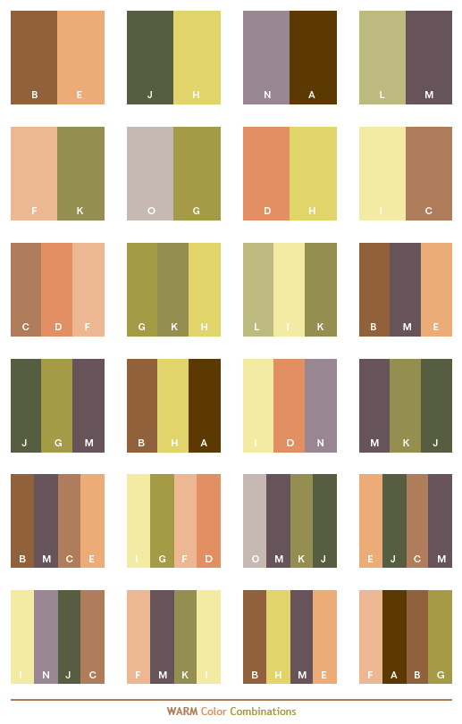 Color Combination warm color schemes, color combinations, color palettes for print