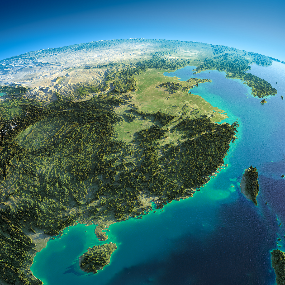 Relief Map Of Eastern China Taiwan Amp Korea