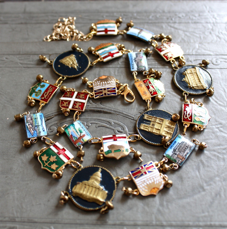 World Traveler Bracelet Links Deconstructed Necklace Enamel Bracelet Vintage Jewelry Aus Vintage Jewelry Repurposed Vintage Jewelry Art Vintage Jewelry Crafts