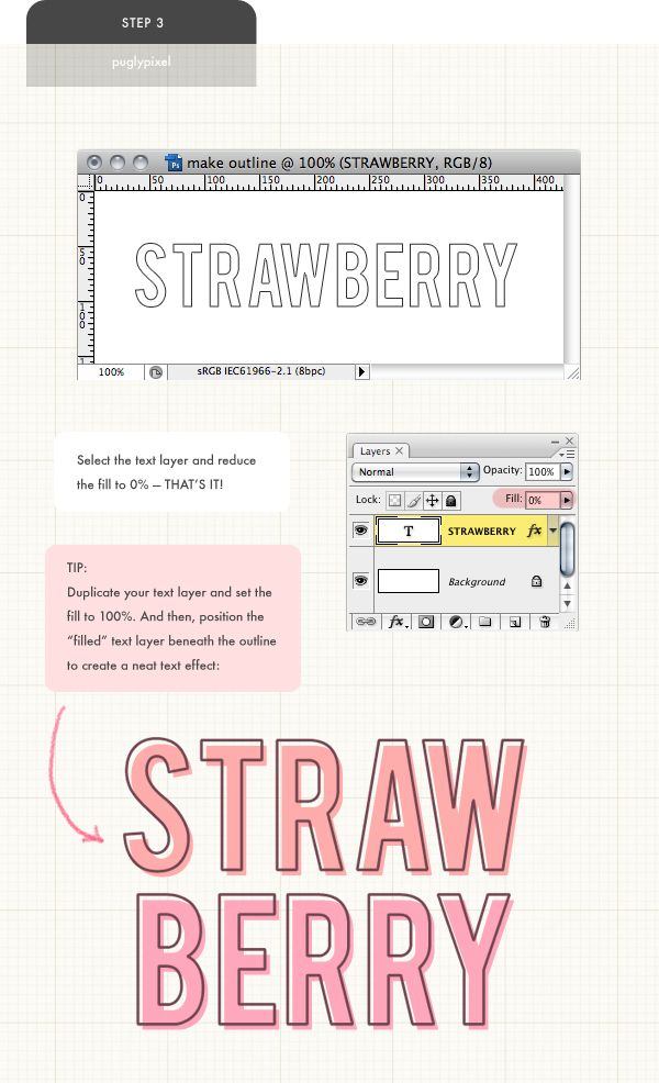 how to outline a solid font / pugly pixel