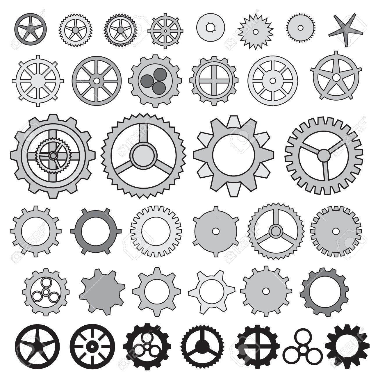 Steampunk Gear Collection Machine Gear, Wheel Cogwheel Vector ...