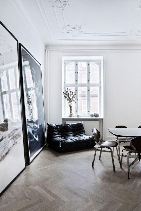 scandinavian apartment, herringbone floor, art, mid century modern ...