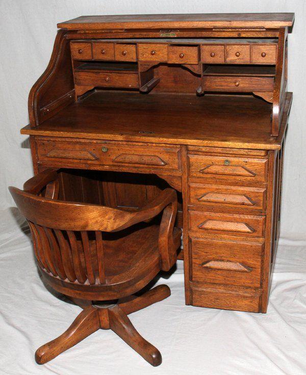 071467 American Oak Roll Top Desk With Chair Early 20 Jul 21