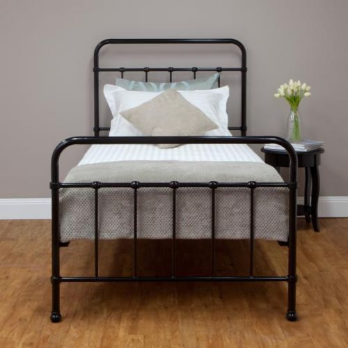 New Sturdy BLACK Single Steel Frame Bed OLD HOSPITAL STYLE VINTAGE LOOK
