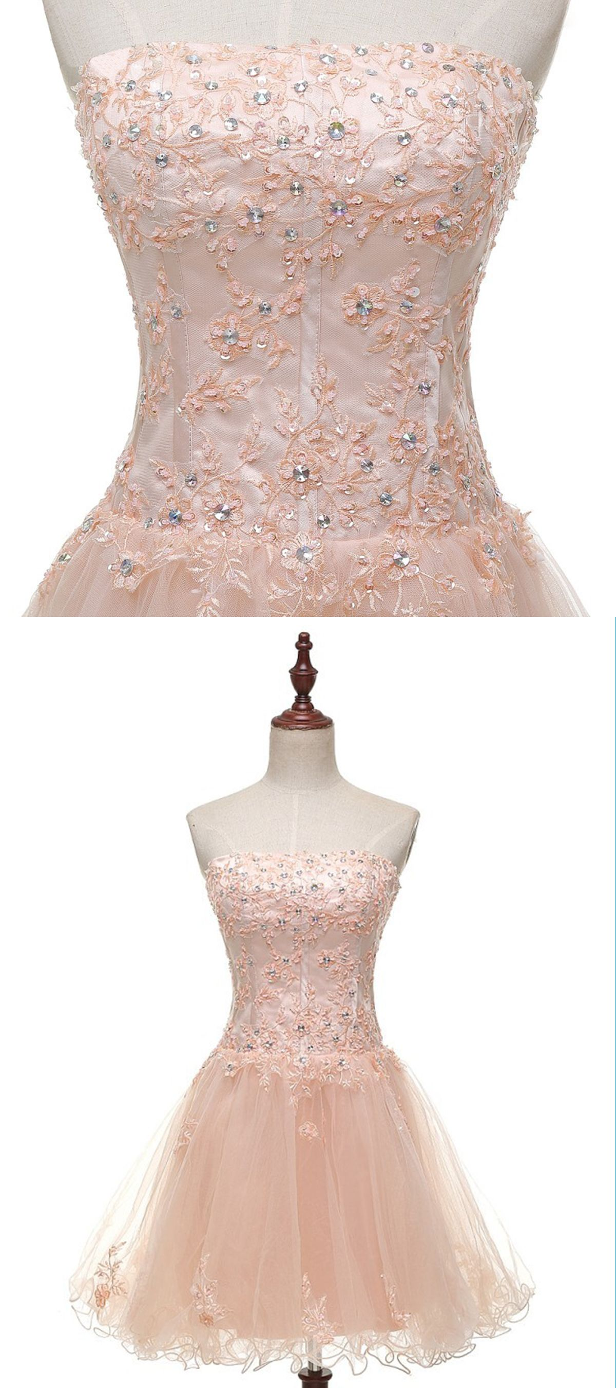Simple pink tulle strapless short beaded prom dress short lace