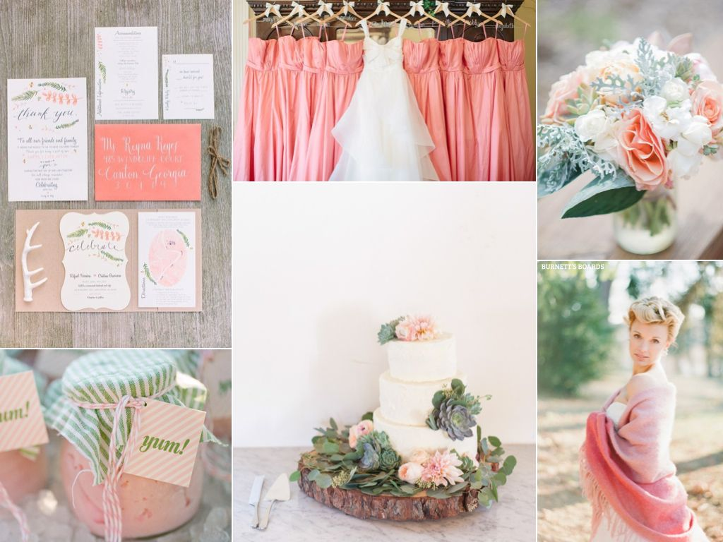 pink wedding inspiration board with rustic details | Inspiration ...
