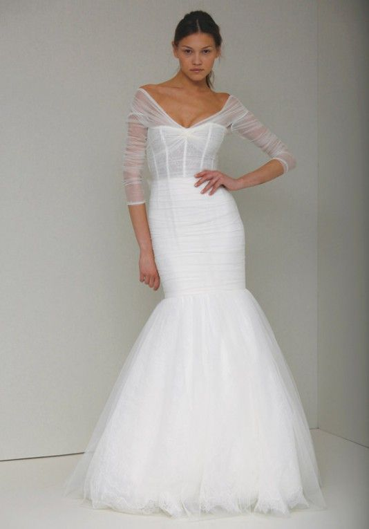A Modern Wedding Dress With Delicate Sheer Sleeves : Addie ...