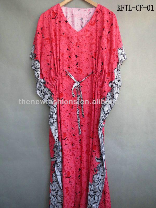 Woman Fashion Cotton Caftan Floral Design Plus Size Nighty Kaftans ...