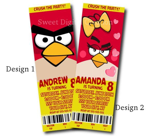 Angry Birds Birthday DIY Printable Invitation NOT PRINTED PRODUCT – Angry Birds Party Invitations