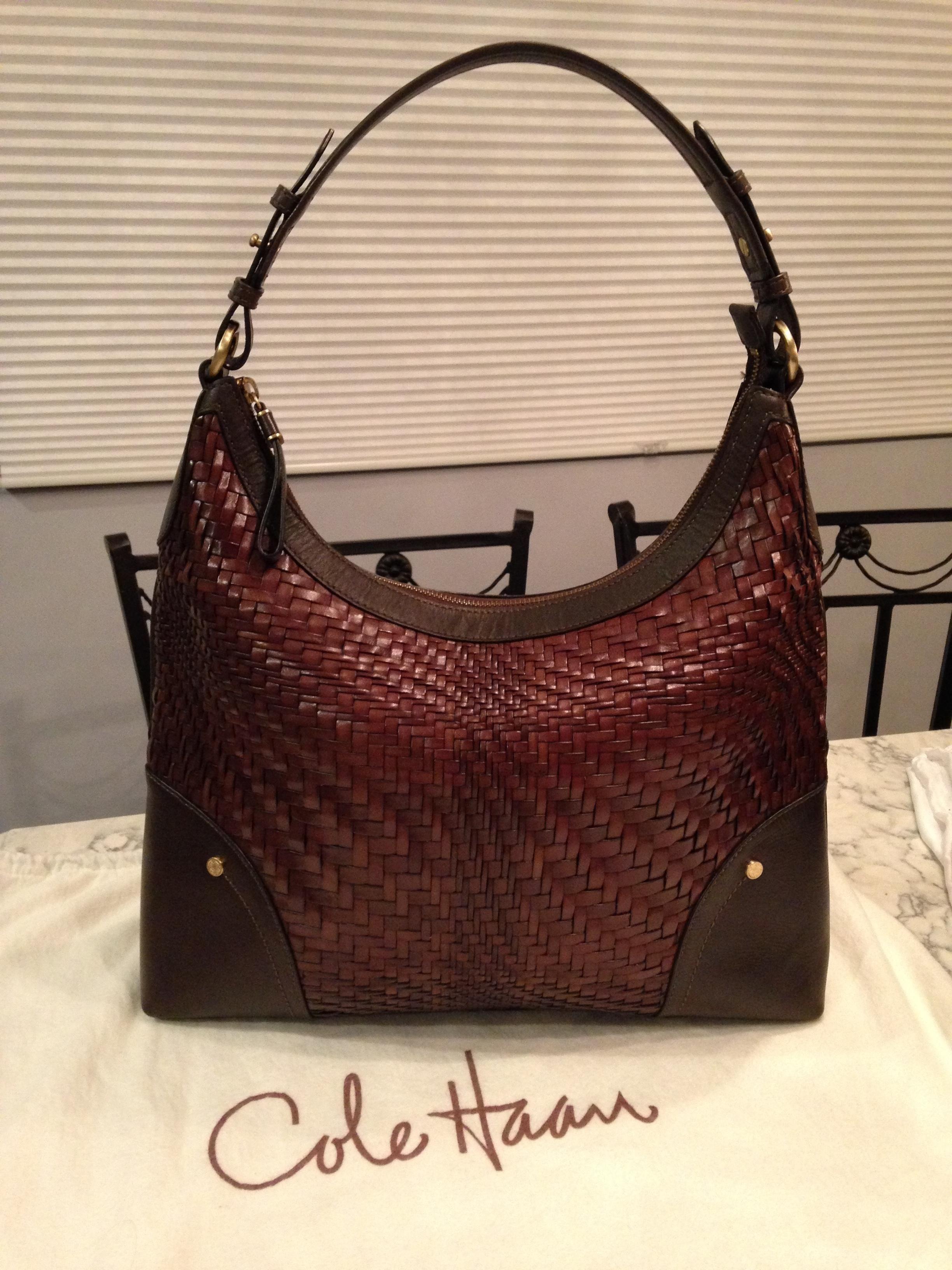 aa4edcf66 Cole Haan Genevieve Woven Brown Leather Tote Satchel Handbag Hobo Bag. Hobo  bags are hot this season! The Cole Haan Genevieve Woven Brown Leather Tote  ...