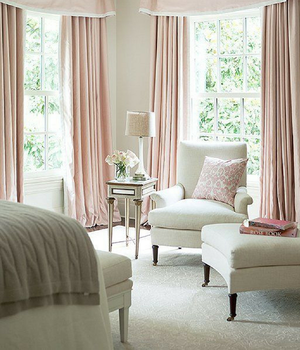 Blush Pink Living Room With Long D Curtains