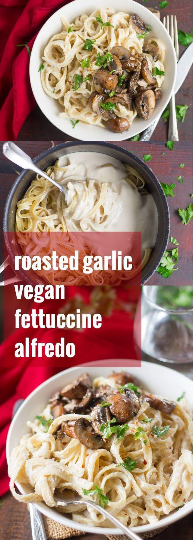 Roasted Garlic Baby Portobello Vegan Fettuccine Alfredo Connoisseurus Veg Recipe Vegan Fettuccine Alfredo Fettuccine Alfredo Vegan Alfredo