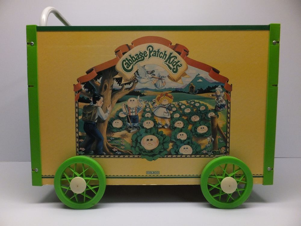 Cabbage Patch Kids Large Toy Box Wagon Push Cart Doll Coleco Vintage 1984 Cabbagepatchkids Large Toy Box Cabbage Patch Kids Toy Boxes
