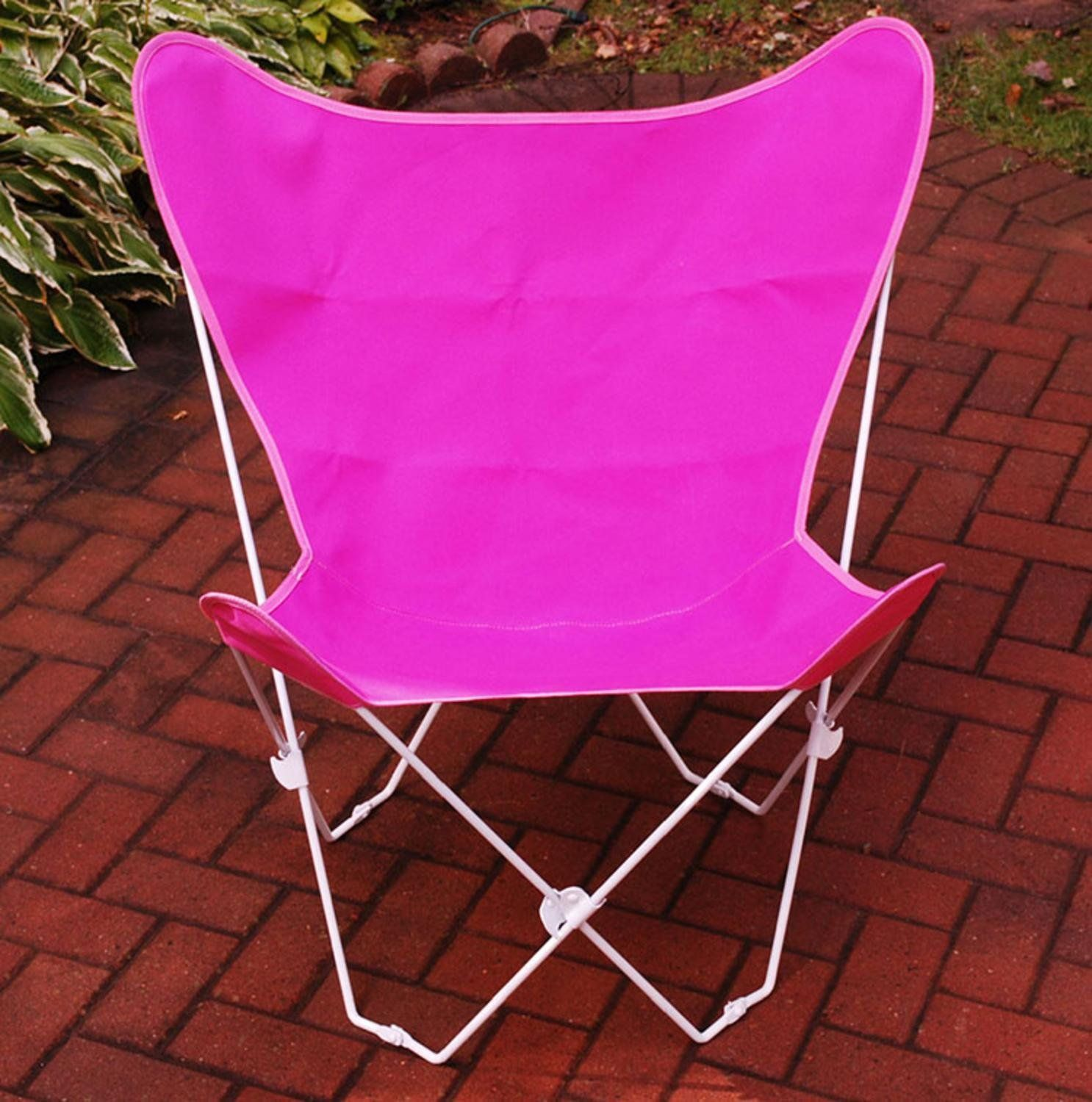 Retro Folding Butterfly Chair and Hot Pink Cover with White Frame