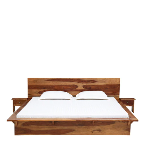Buy Duvall Solid Wood King Size Platform Bed With 2 Night Stands In Rustic Teak Finish By Woodsworth Online Platform King Size Beds Beds Furniture Pep Bed