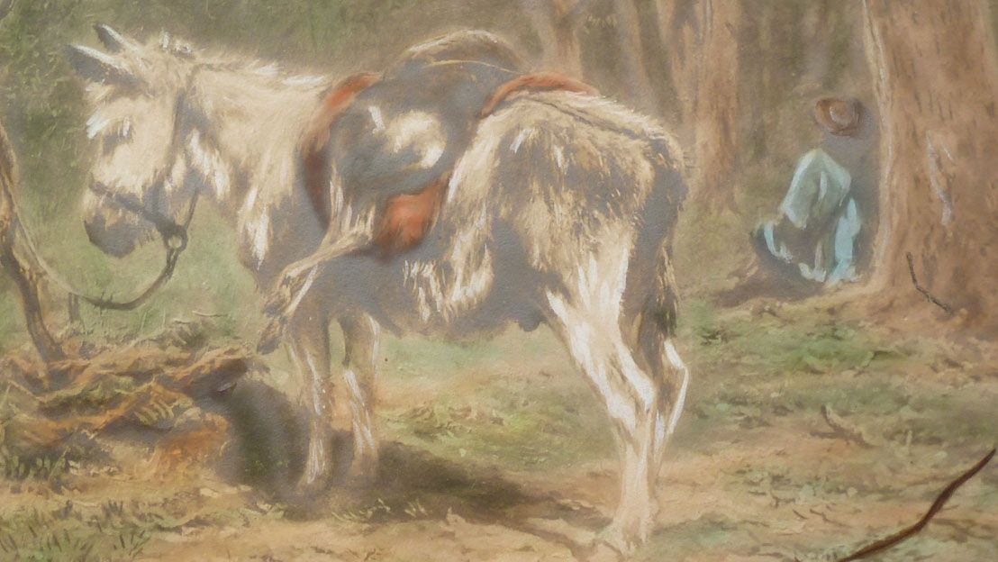 Close-up of Rosa Bonheur painting showing deer on a mule and hunter in a blue shirt sitting under a tree.
