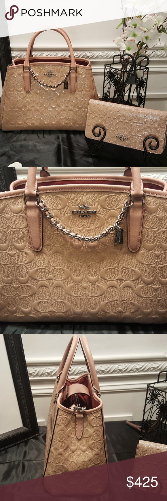 NWT Coach Small Margot carryall w wallet Signature Pink debossed patent  leather with signature C s 400c153ee3