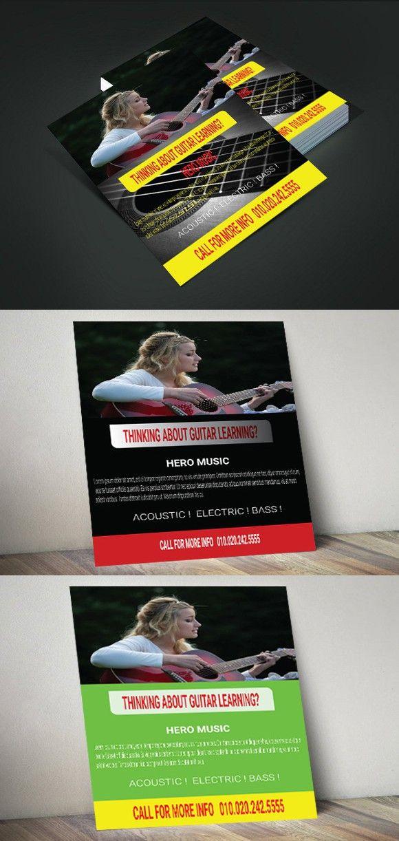 Guitar Lesson Marketing Flyer Marketing Flyers Flyer Template And