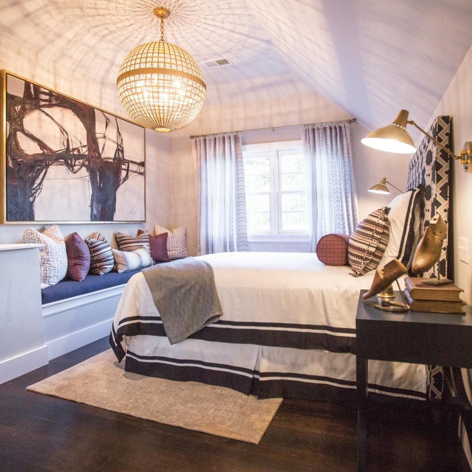 Master bedroom art  A glowing gold light fixture is a contemporary twist on a disco ball