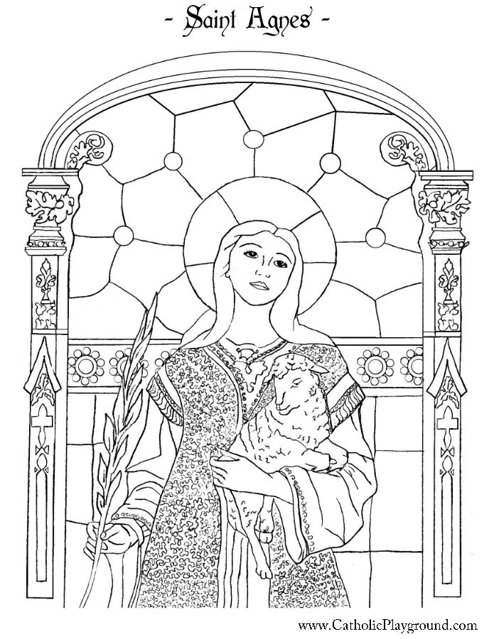 Saint Agnes Coloring Page Catholic Playground Saint Coloring
