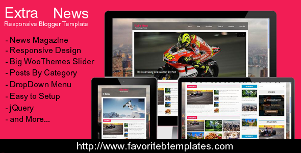 Download Free Extra News Magazine Blogger Template Black
