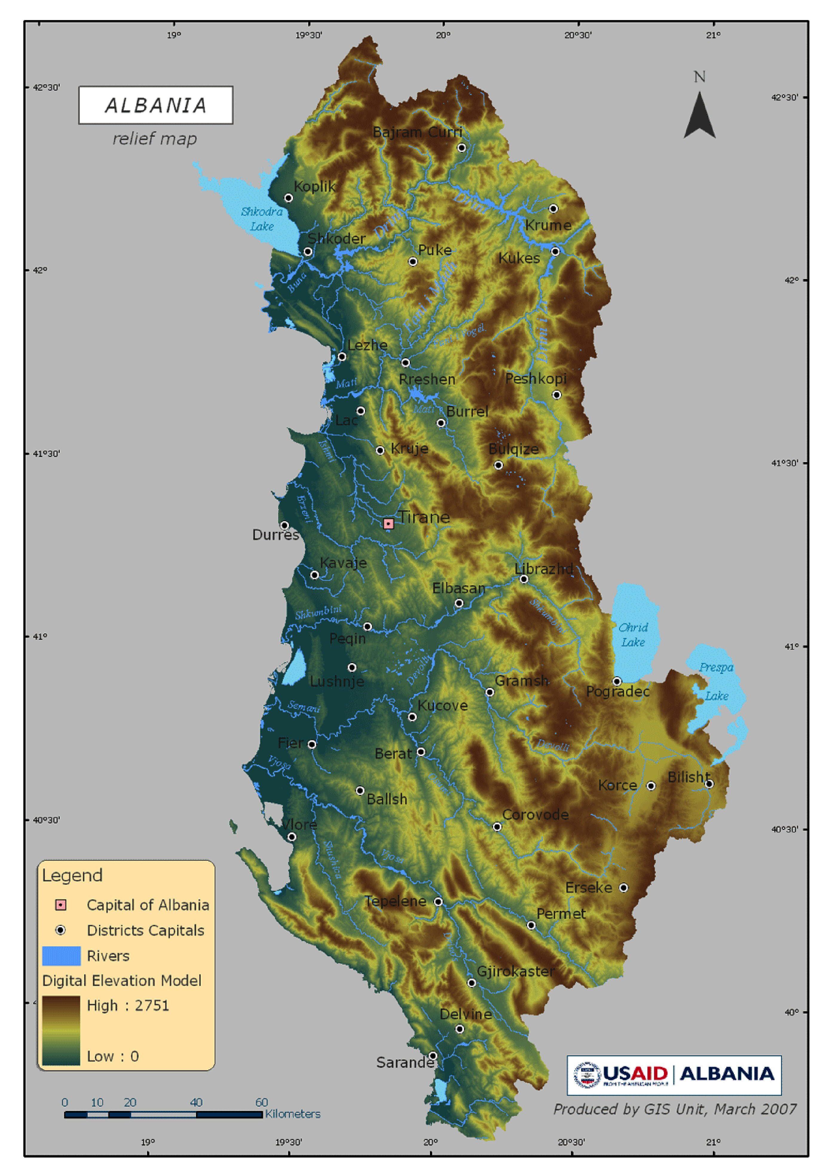 Albania Relief Map