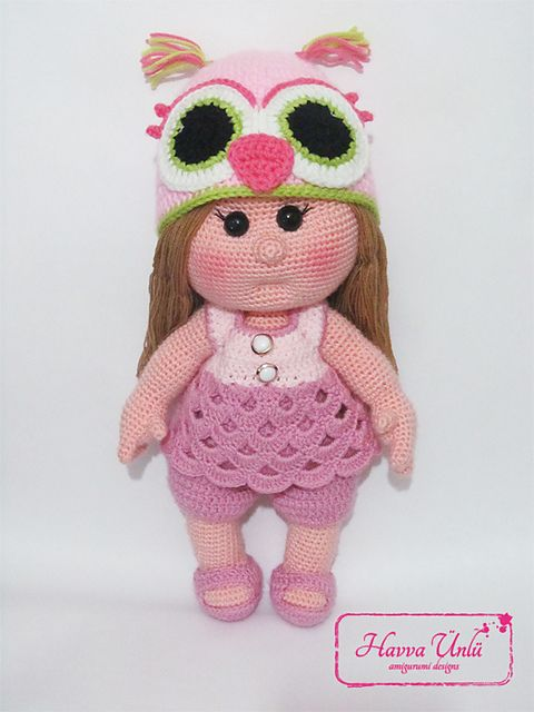 Amigurumi Baby Doll Pattern : Mia doll with owl hat and clothes crochet amigurumi