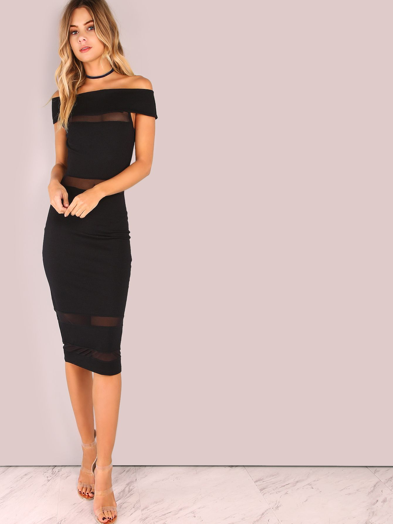 88cb964d64 Shop Off Shoulder Mesh Panel Bodycon Dress BLACK online. SheIn offers Off  Shoulder Mesh Panel Bodycon Dress BLACK & more to fit your fashionable  needs.