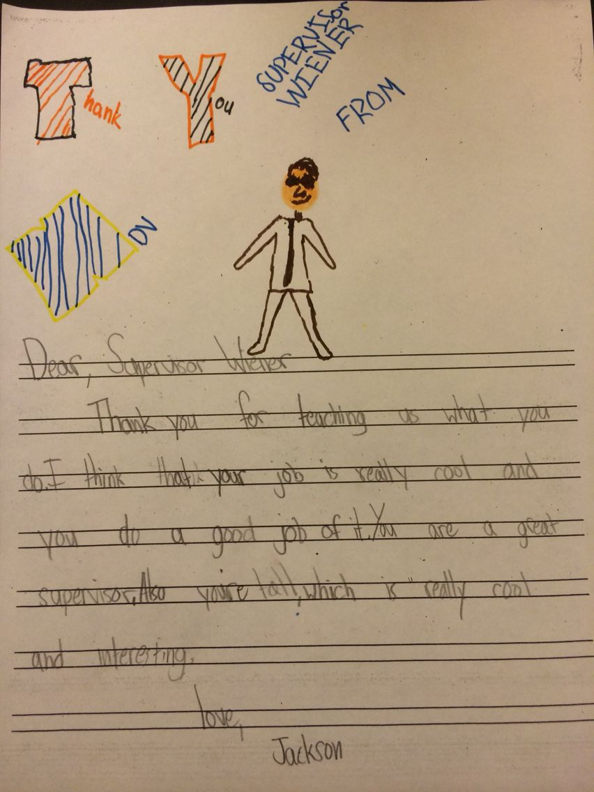 Beautiful thank you note from kid whose class visited the office
