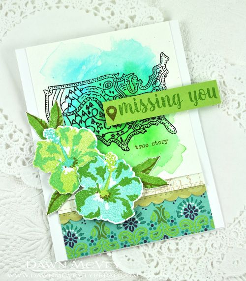 Missing You Card by Dawn McVey for Papertrey Ink (July 2016)