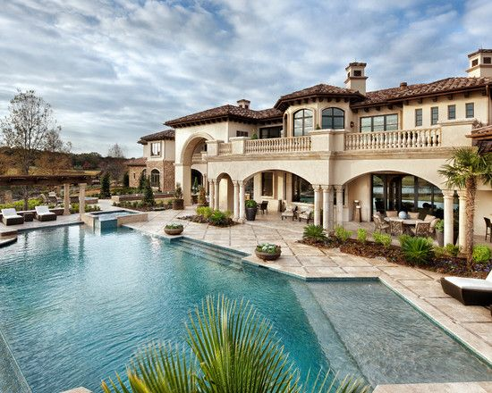 15 Ideas For Daunting Mediterranean Pool Designs Home Design Lover Luxury Homes Mansions Dream House