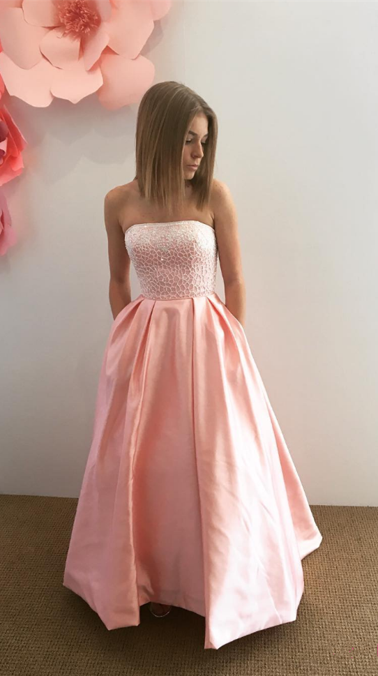 A-Line Strapless Floor-Length Pink Prom Dress with Pockets Lace ...