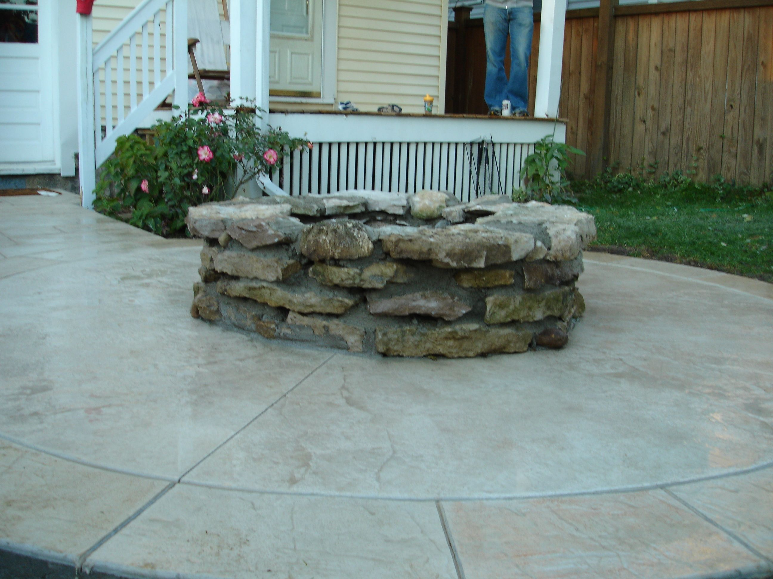 Stamped Concrete Patio With Fire Pit. Stamped Concrete Patio Designs | And  Custom Firepit With