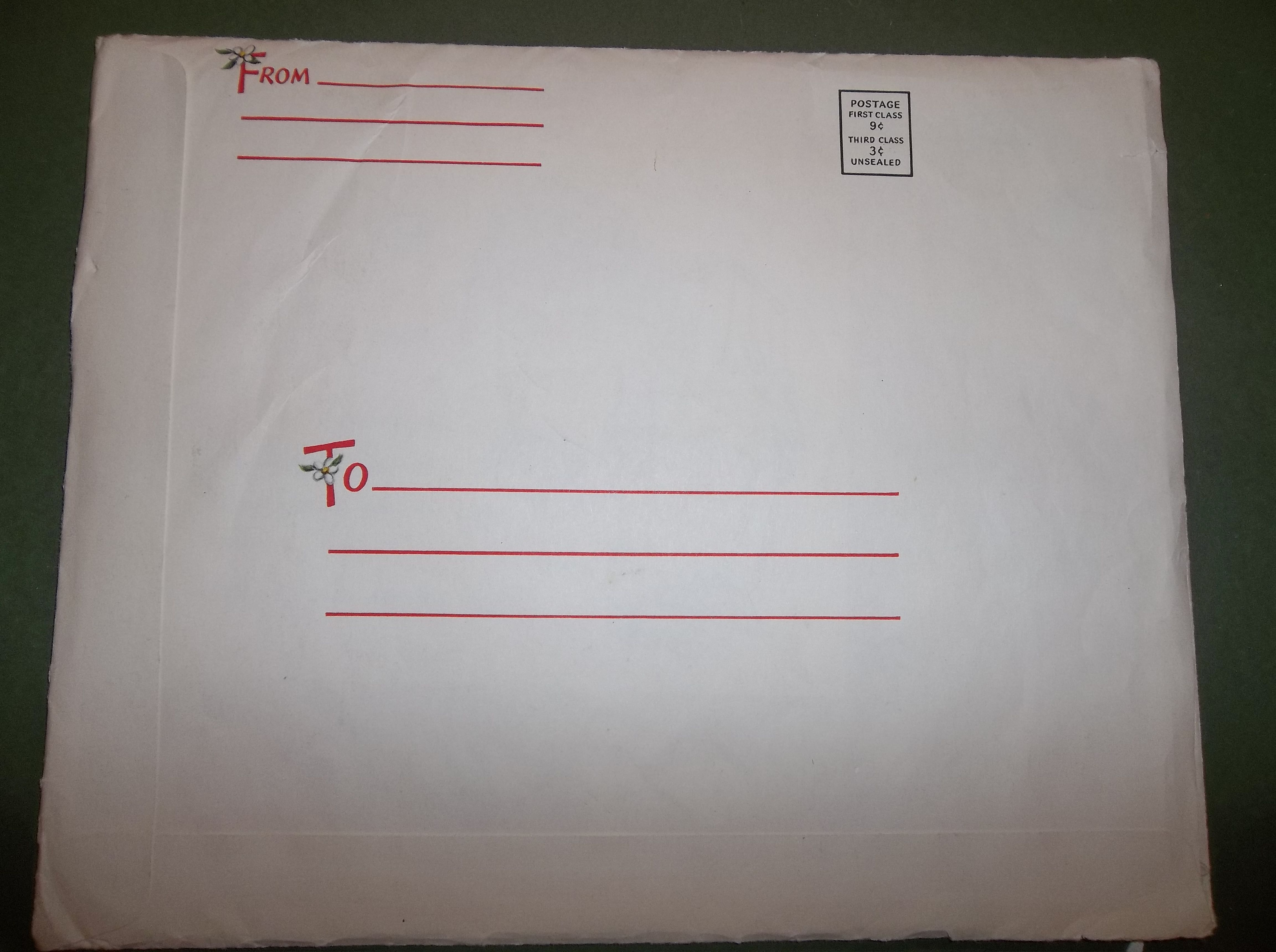 Most of the Hallmark May Basket sets came in envelopes that could be sent to someone so that they could make and give away the baskets.  For some reason it was cheaper to mail them in an unsealed envelope (3 cents) rather than a sealed one (9 cents).  Here's a picture of the address side of the envelope.