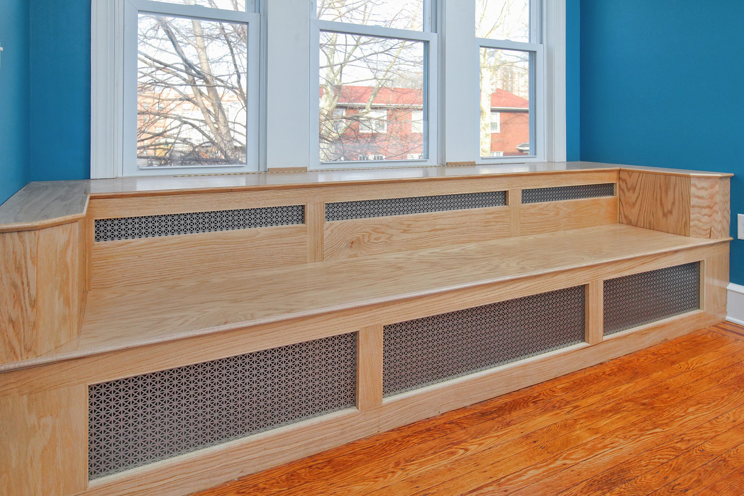 Custom Built In Oak Bench That Doubles As A Radiator Cover
